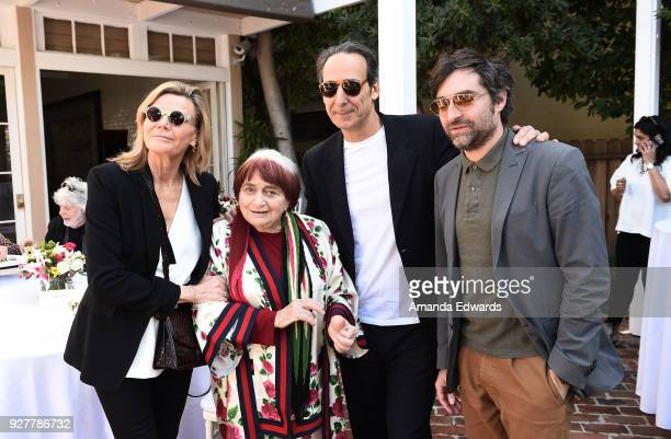 Violinist Dominique LeMonnier, director Agnes Varda, composer Alexandre Desplat and actor Mathieu Demy attend the 90th Academy Awards French Nominees...
