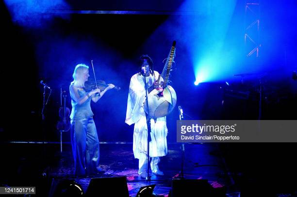 Violinist Ellika Frisell and kora player Solo Sissokho perform live on stage during the BBC 3 World Music Awards in London on 24th March 2003