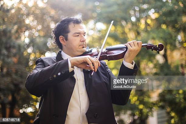 violinist in park - classical concert stock pictures, royalty-free photos & images