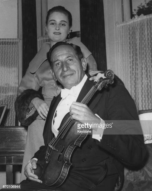 Violinist Leonard Hirsch with his wife Anne Richardson at the Royal Festival Hall in London 22nd September 1958 The two were married three weeks...