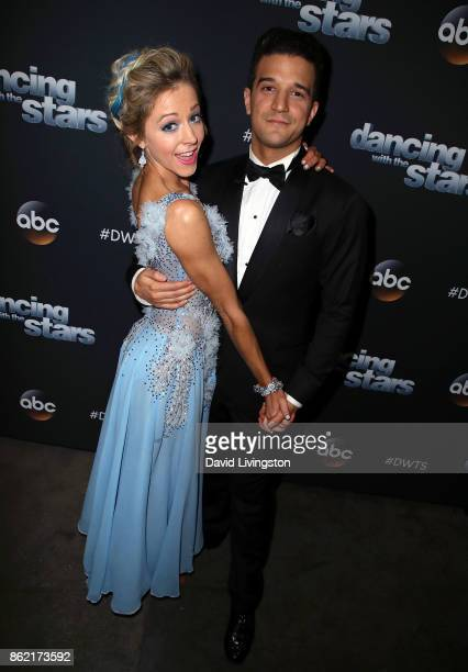 Violinist Lindsey Stirling and dancer Mark Ballas pose at 'Dancing with the Stars' season 25 at CBS Televison City on October 16 2017 in Los Angeles...
