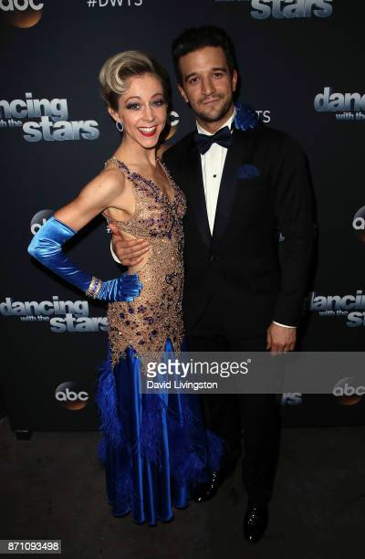 Violinist Lindsey Stirling and dancer Mark Ballas pose at 'Dancing with the Stars' season 25 at CBS Televison City on November 6 2017 in Los Angeles...