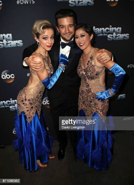 Violinist Lindsey Stirling and Olympic champion Kristi Yamaguchi pose with dancer Mark Ballas at Dancing with the Stars season 25 at CBS Televison...