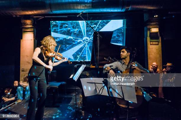 Violinist Lisa Batiashvili and cellist Kian Soltani perform live on stage during Yellow Lounge organized by recording label Deutsche Grammophon at...