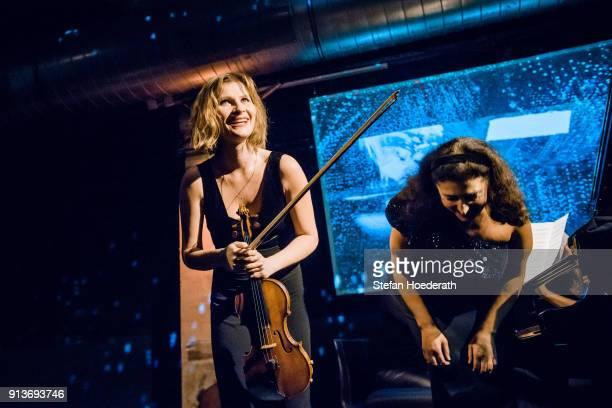 Violinist Lisa Batiashvili and pianist Milana Chernyavska perform live on stage during Yellow Lounge organized by recording label Deutsche Grammophon...