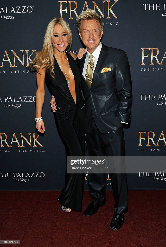 Violinist Lydia Ansel (L) and singer Chris Phillips of Zowie Bowie arrive at the premiere of 'Frank - The Man. The Music.' at The Palazzo Las Vegas on January 24, 2015 in Las Vegas, Nevada.