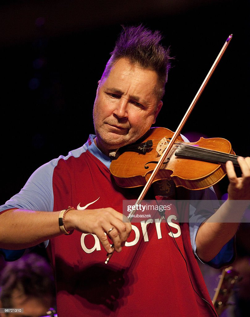 Violinist Nigel Kennedy performs live during a concert rehearsal at