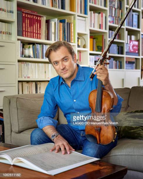 Violinist Renaud Capucon with his Guarnerius 1737 violin is photographed for Paris Match on September 29 2018 in Paris France