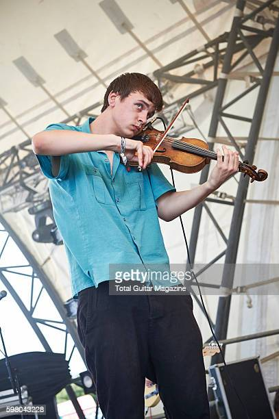 Violinist Reuben Brunt of English postrock group Talons performing live on stage at ArcTanGent Festival in Somerset on August 22 2015