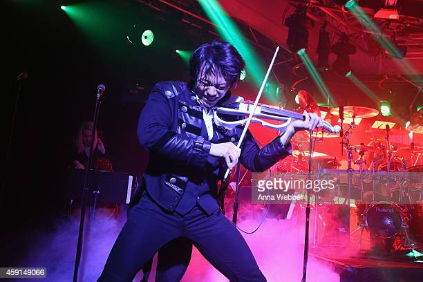 Violinist Roddy Chong of TransSiberian Orchestra performs onstage during an exclusive performance at The iHeartRadio Theater in New York at...