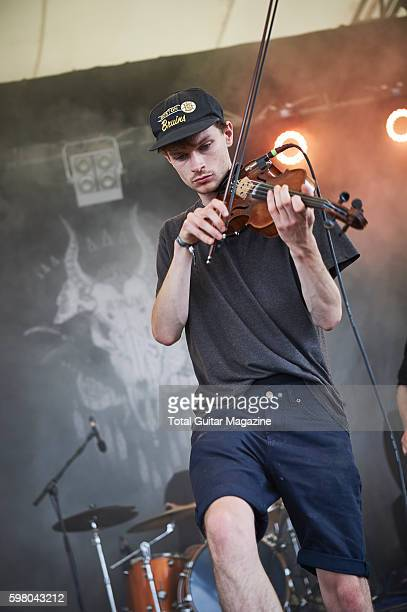 Violinist Sam Little of English postrock group Talons performing live on stage at ArcTanGent Festival in Somerset on August 22 2015