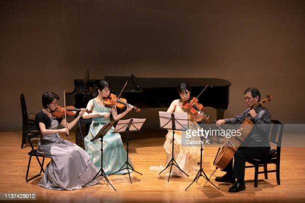 violinists and cellist playing at classical music concert - classical musician stock pictures, royalty-free photos & images