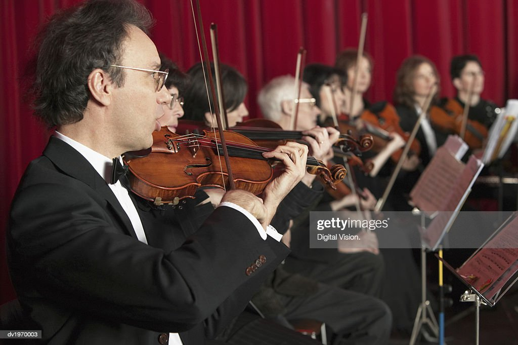 Violinists in an Orchestra Performing : Stock Photo