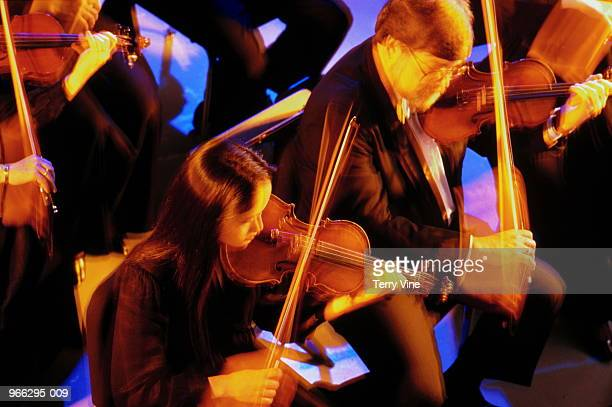 Violinists in symphony orchestra, elevated view (blurred motion)