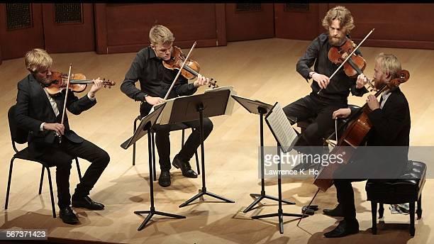 BARBARA CA NOV 18 2014 Violinists Rune Tonsgaard S¿rensen Frederik ¯land Asbjorn Norgaard viola and Fredrik Sjšlin cello of The Danish String Quartet...