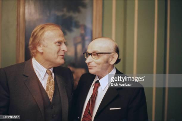 Violinists Yehudi Menuhin and Max Rostal circa 1975