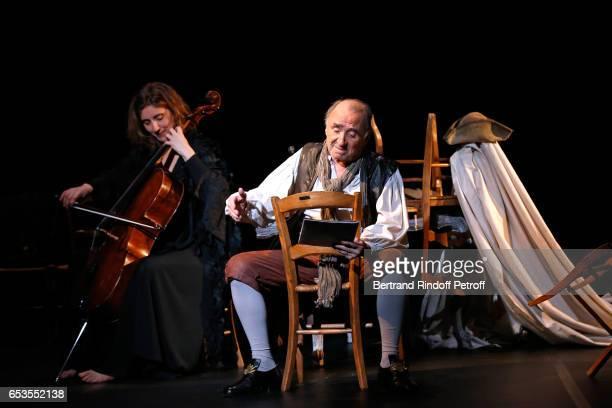 Violoncellist Anne Causse and actor Claude Brasseur perform in L'indigent Philosophe ou la pilosophie de la joie at Theatre de L'Atelier on February...