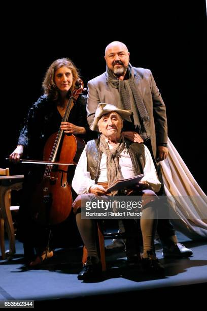 "Violoncellist Anne Causse, Stage Director Christophe Lidon and actor Claude Brasseur pose after have played in ""L'indigent Philosophe ou la..."