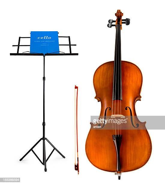 violoncello and music score & stand - musical equipment stock pictures, royalty-free photos & images