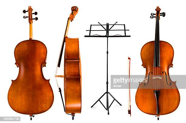 violoncello and music stand - double bass stock photos and pictures