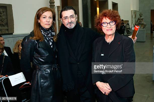 Violonist Anne Gravoin Stylist Franck Sorbier and Actress Andrea Ferreol attend she Franck Sorbier Spring Summer 2016 show as part of Paris Fashion...