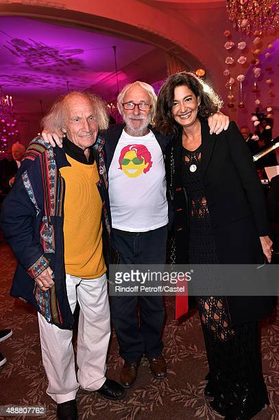 Violonist Ivry Gitlis Actor Pierre Richard and his wife Ceyla Lacerda attend the Kenzo Takada's 50 Years Of Life in Paris Celebration at Restaurant...