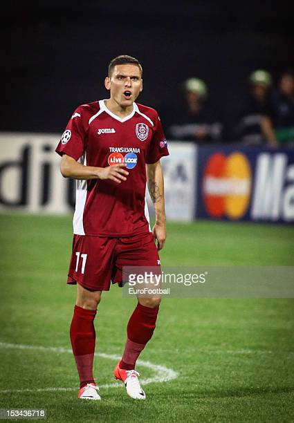 Viorel Nicoara of CFR 1907 Cluj in action during the UEFA Champions League group stage match between CFR 1907 Cluj and Manchester United FC on...