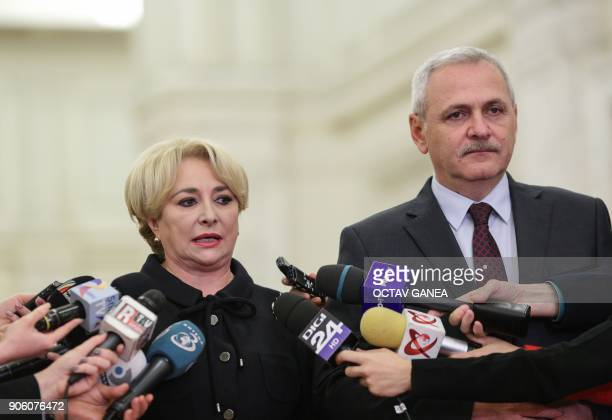 Viorica Dancila the appointed Romanian Prime Minister speaks to journalists next to Liviu Dragnea the leader of rulling Social Democrat Party at the...