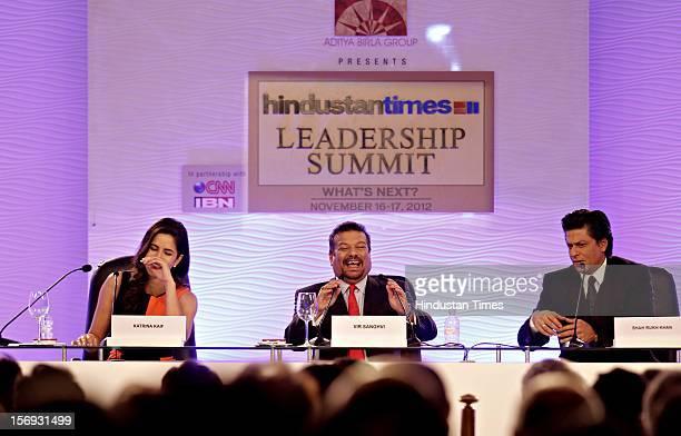 Vir Sanghvi Actor Shah Rukh Khan and Katrina Kaif during the first day of the Hindustan Times Leadership Summit on November 16 2012 in New Delhi India