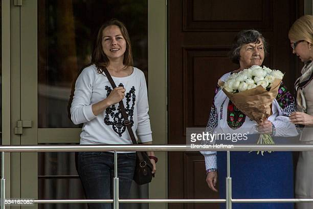 Vira Savchenko Maria Savchenko sister and mother respectively of Ukrainian military pilot Nadiya Savchenko are joined by Yulia Tymoshenko a Ukrainian...