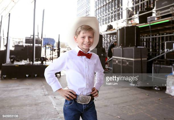Viral internet sensation Mason Ramsey aka The Walmart Yodeling Boy poses backstage during the 2018 Coachella Valley Music And Arts Festival at the...