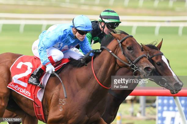 Viral ridden by Craig Williams wins the Ladbrokes Money Back Odds Handicap at Ladbrokes Park Lakeside Racecourse on April 08, 2020 in Springvale,...
