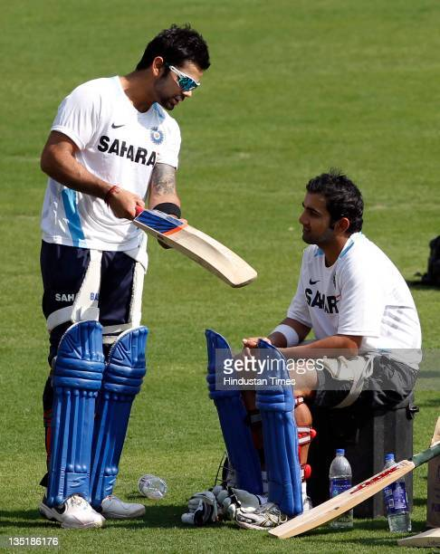 Virat Kohli and Gautam Gambhir of India during the team practice session prior to the 4th One Day International match between India and West Indies...