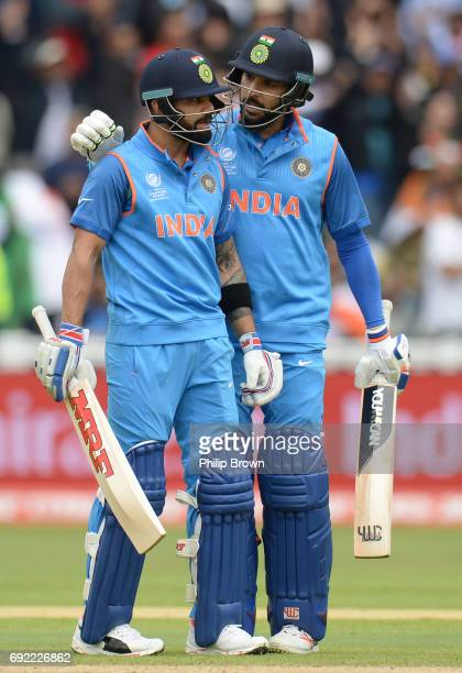 Virat Kohli and Yuvraj Singh of India during the ICC Champions Trophy match between India and Pakistan at Edgbaston cricket ground on June 4 2017 in...