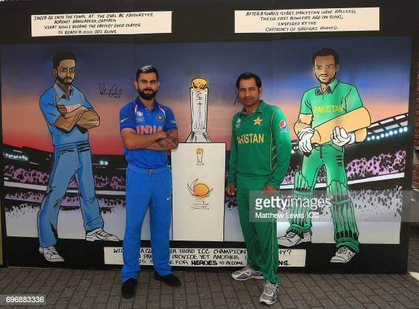 Virat Kohli Captain of India and Sarfraz Ahmed Captain of Pakistan pictured during a photocall ahead of the ICC Champions Trophy Final between...