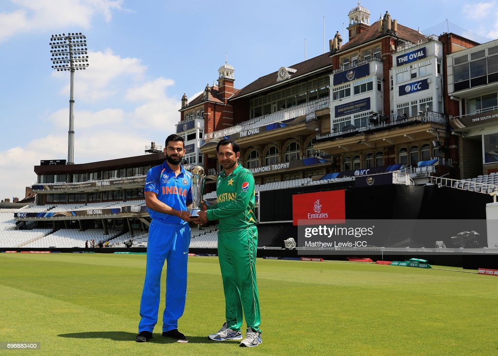 Virat Kohli, Captain of India and Sarfraz Ahmed, Captain of Pakistan pictured during a photocall ahead of the ICC Champions Trophy Final between Pakistan and India at The Kia Oval on June 17, 2017 in London, England.