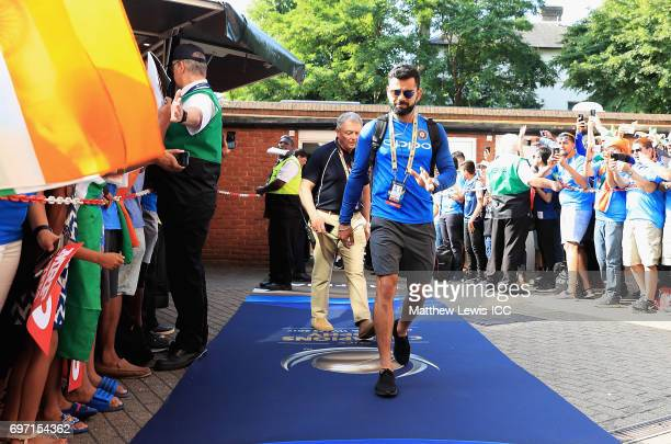 Virat Kohli captain of India arrives ahead of the ICC Champions Trophy Final between Pakistan and India at The Kia Oval on June 18 2017 in London...