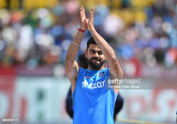Virat Kohli Captain of India celebrates victory during the day 4 of their fourth test cricket match in Dharmsala