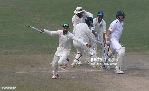 Virat Kohli Captain of India celebrating victory during day 5 of the 4th Paytm Freedom Trophy Series Test Match between India and South Africa at the...