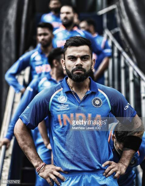 Virat Kohli captain of India waits to lead his team out against Pakistan ahead of the ICC CHampions Trophy match between India and Pakistan at...