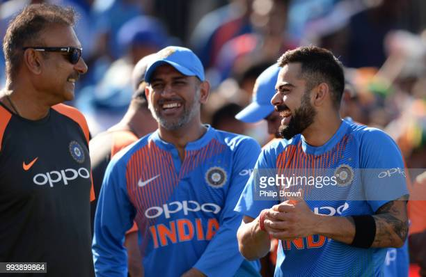 Virat Kohli MS Dhoni and Ravi Shastri of India laugh after the 3rd Vitality International T20 between England and India on July 8 2018 in Bristol...