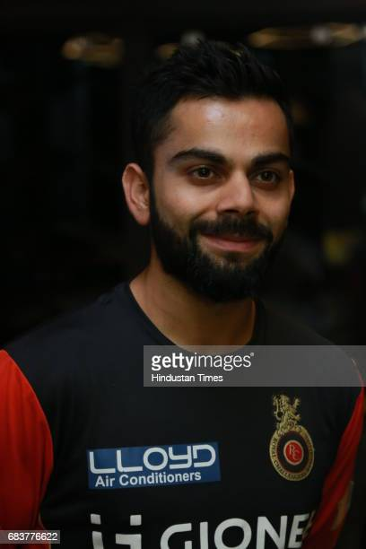Virat Kohli during special dinner for Royal Challengers Bangalore teammates by Virat Kohli at his new restaurant Nueva RK Puram on May 12 2017 in New...