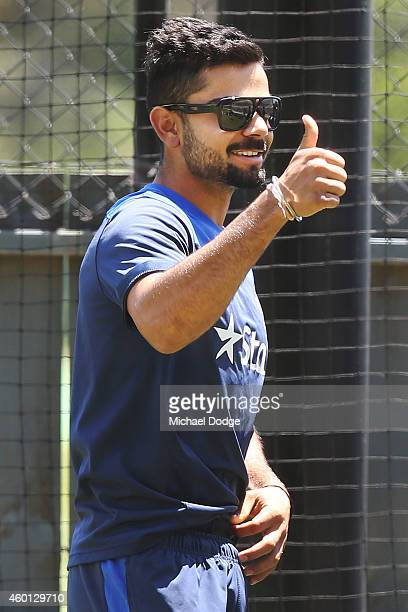 Virat Kohli gestures in the nets during an India Training Session at Adelaide Oval on December 8 2014 in Adelaide Australia Kohi was made captain...