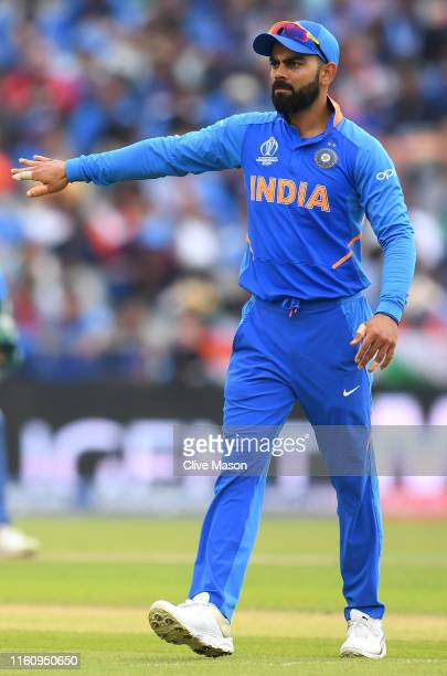 Virat Kohli, Indian Captain sets his field during the Semi-Final match of the ICC Cricket World Cup 2019 between India and New Zealand at Old...