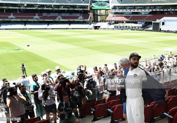 Virat Kohli looks on ahead of the Test series between Australia and India at Adelaide Oval on December 05, 2018 in Adelaide, Australia.