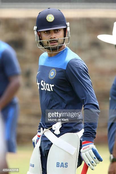 Virat Kohli looks on during a training session for the Indian cricket team at Gliderol Stadium on November 23 2014 in Adelaide Australia