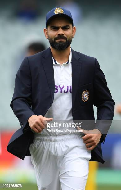 Virat Kohli of India after the toss before day one of the First Test match between Australia and India at Adelaide Oval on December 17, 2020 in...