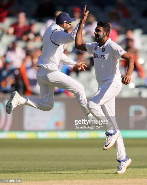 Virat Kohli of India and Ravichandran Ashwin of India appeal during day two of the First Test match between Australia and India at Adelaide Oval on...