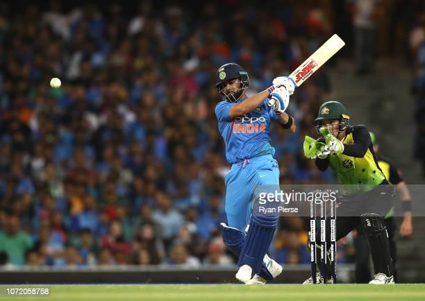 Virat Kohli of India bats as Alex Carey of Australia keeps wicket during the International Twenty20 match between Australia and India at Sydney...