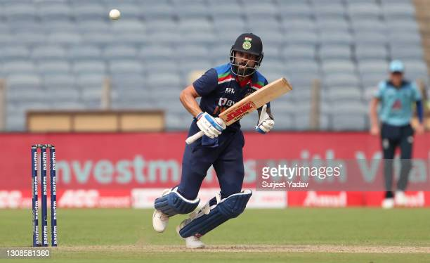 Virat Kohli of India bats during 1st One Day International between India and England at MCA Stadium on March 23, 2021 in Pune, India.